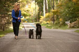 Sarah with her dogs